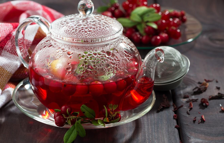 Photo wallpaper berries, tea, drink, teapot, cranberries