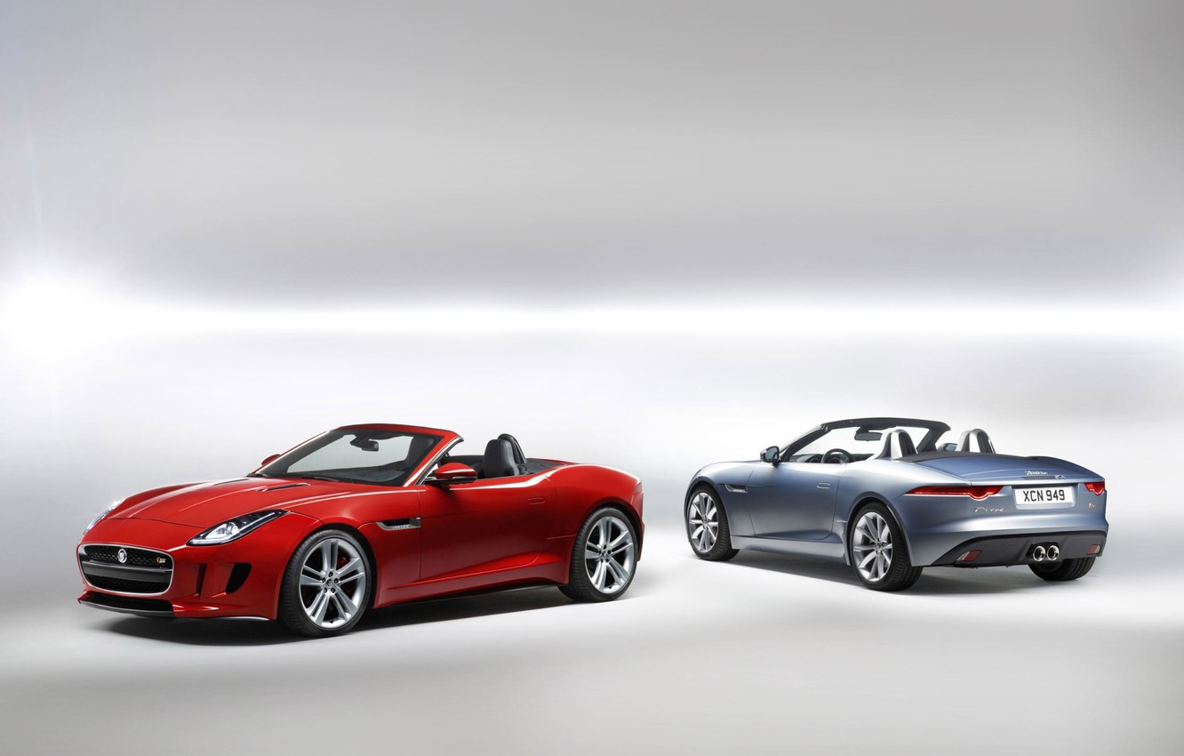 Photo wallpaper red, background, Jaguar, silver, Jaguar, Roadster, rear view, the front, F-tayp, F-Type