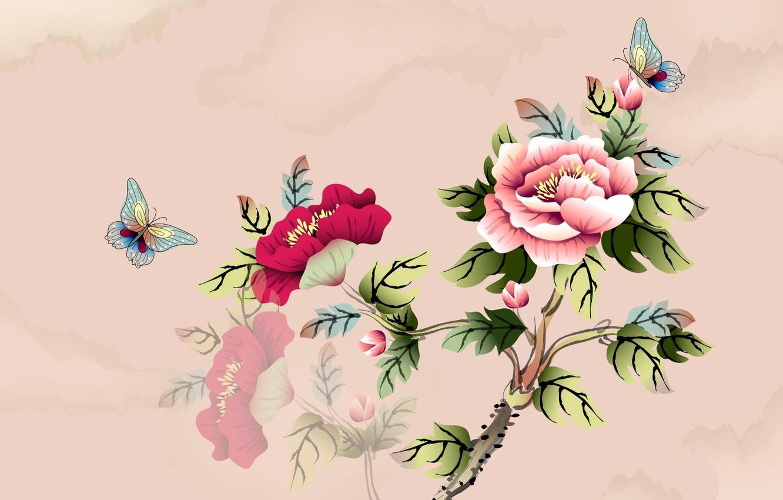 Photo wallpaper flowers, butterfly, branch, art, watercolor