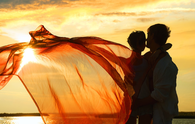 Photo wallpaper girl, joy, sunset, lake, the wind, fabric, bracelet, guy
