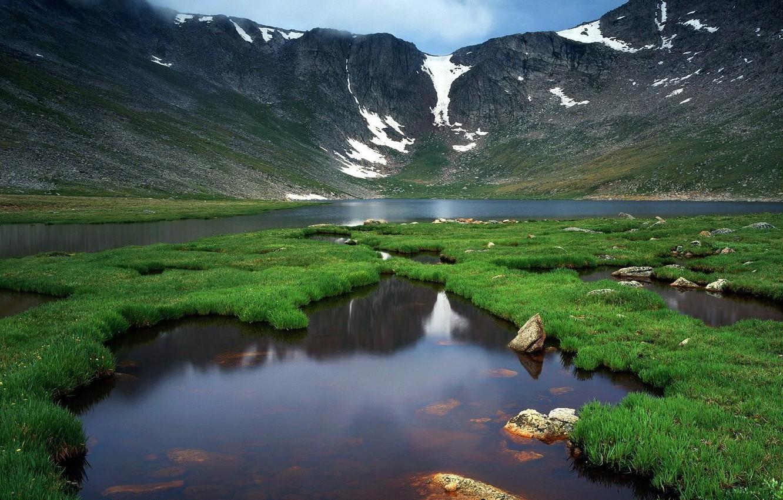 Photo wallpaper greens, mountains, nature, life, river