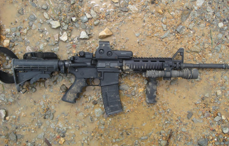 Photo wallpaper water, stones, Machine, sleeve, Сolt AR-15 (M16), An American assault rifle