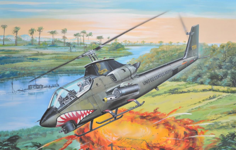 Wallpaper War Art Helicopter Painting Vietnam War Bell Ah 1g Huey Cobra Images For Desktop Section Aviaciya Download
