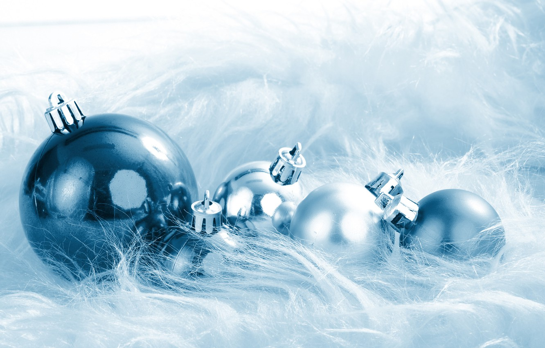Photo wallpaper balls, Christmas decorations, blue pile