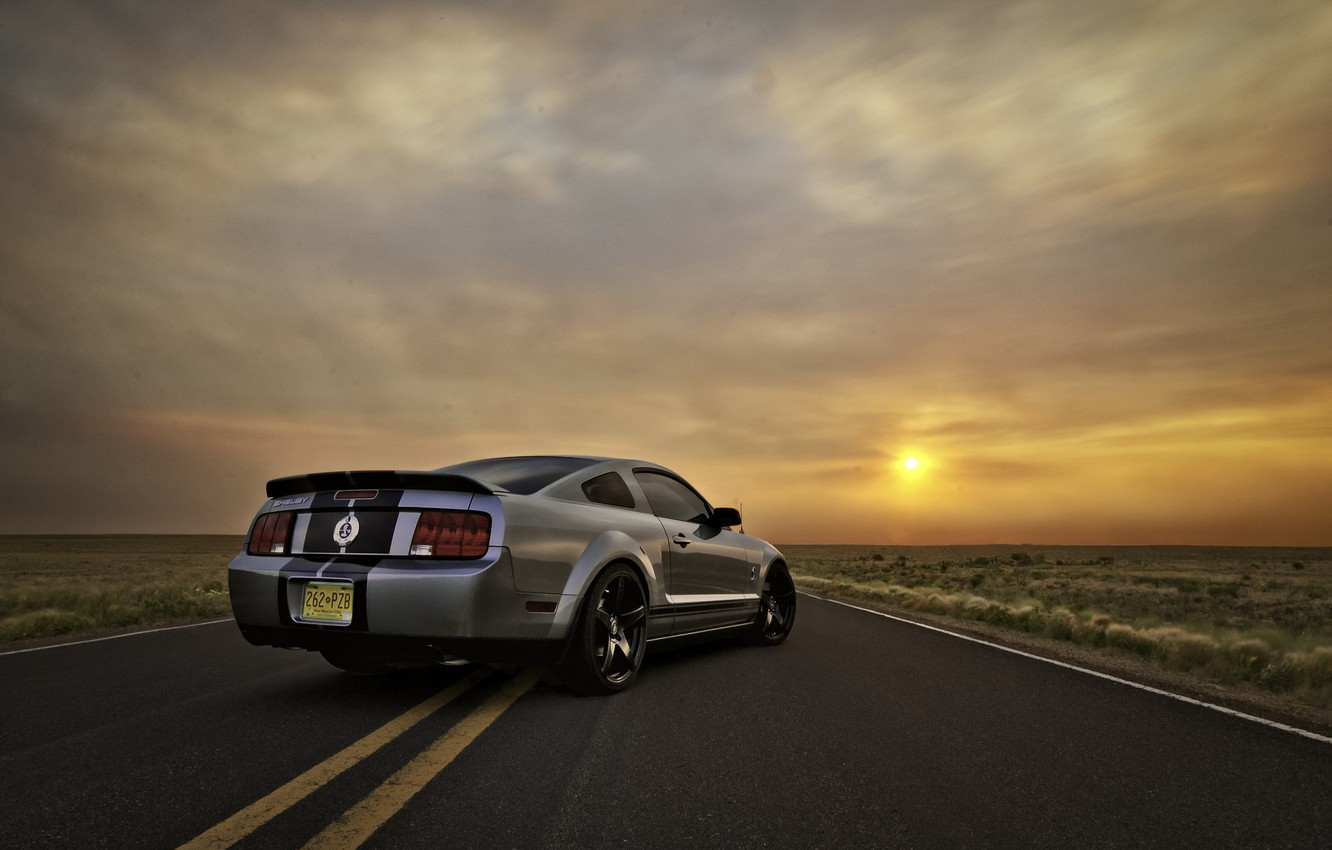 Photo wallpaper the sky, the sun, sunset, Mustang, Ford, Shelby, GT500, Mustang, silver, muscle car, Ford, Shelby, …