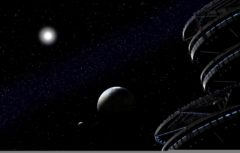 Photo wallpaper planet, stars, infinity