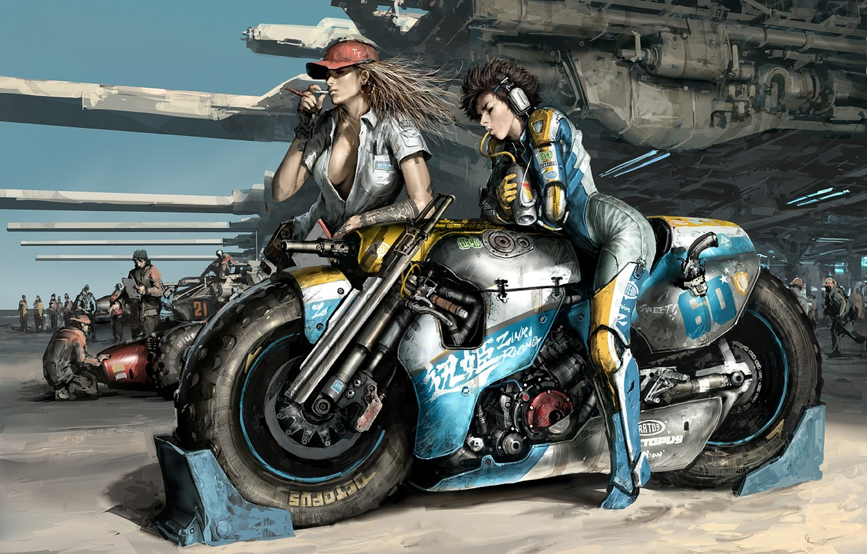 Photo wallpaper weapons, girls, race, motorcycle, waiting, Art