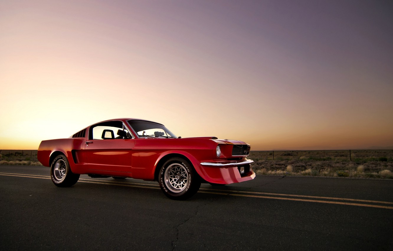 Photo wallpaper the sun, sunset, red, Mustang, Ford, Mustang, red, muscle car, Ford, muscle car, front