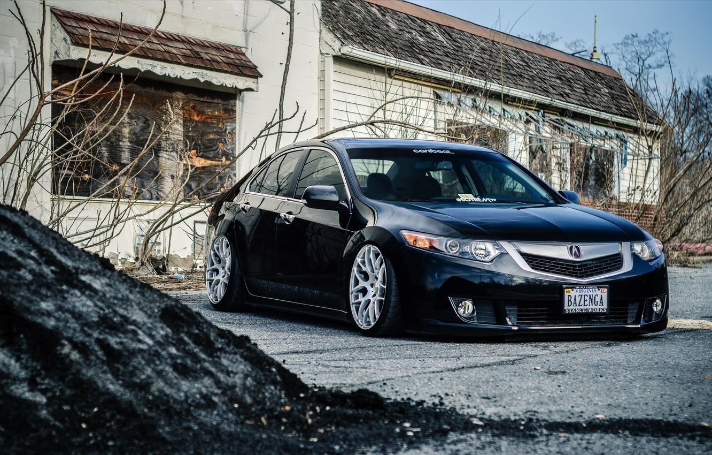 Photo wallpaper tuning, Honda, black, stance, Acura, Acura TL