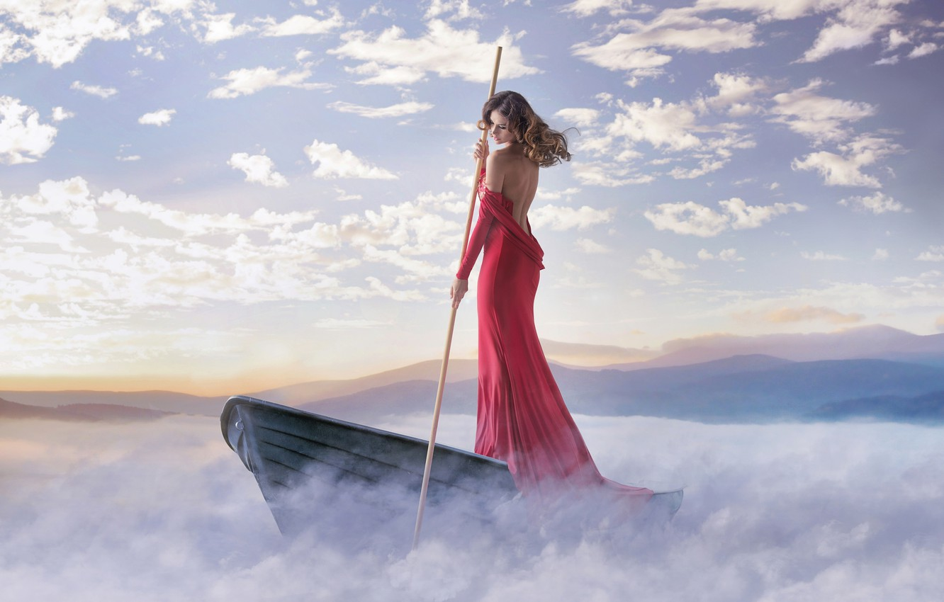 Photo wallpaper girl, clouds, fog, shore, boat, dress, is, in red, pole