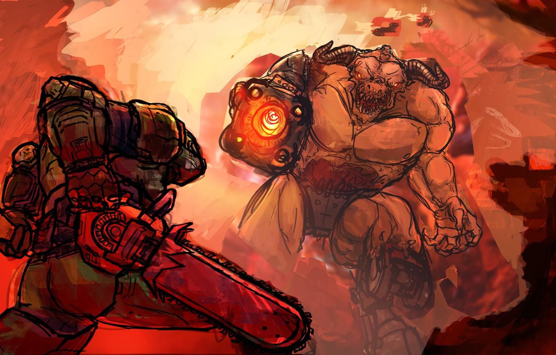 Photo wallpaper demon, soldier, shotgun, fan art, DOOM, chainsaw