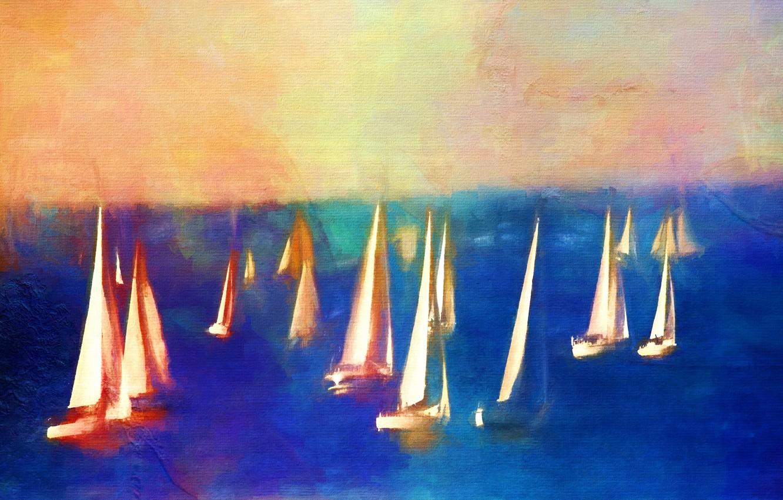 Photo wallpaper sea, picture, boats