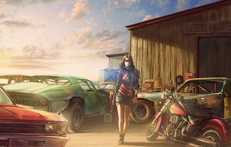 Photo wallpaper girl, figure, Chevrolet, motorcycle, dump, the barn, art, old car, Rust graveyard, by c85