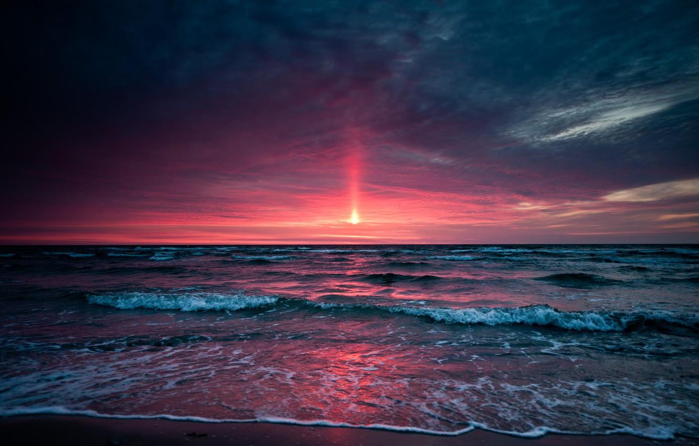 Photo wallpaper sea, the sky, sunset, Sunset