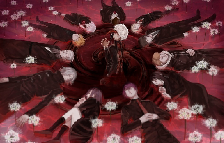 Photo wallpaper anime, art, Tokyo ghoul, Tokyo Ghoul, Ken Kanek, Kirishima Bring, Juuzou Suzuya, Shuu Tsukiyama, Koutarou …