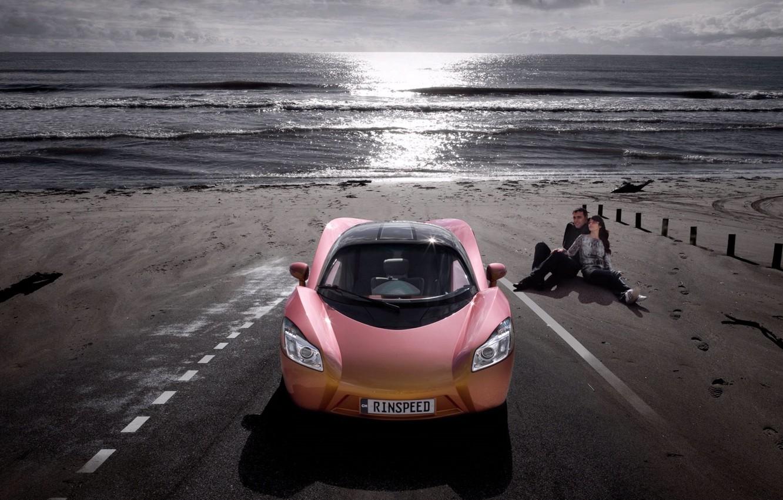 Photo wallpaper shore, supercar, a couple, love, rinspeed