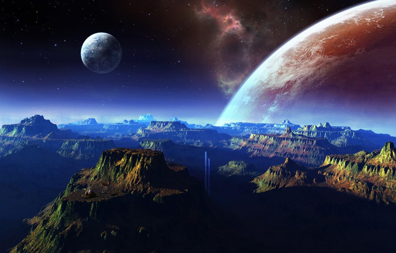Photo wallpaper space, mountains, planet