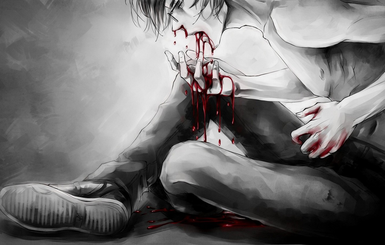 Photo wallpaper the victim, despair, pain, deadly, wounded, a pool of blood, the guy with the glasses