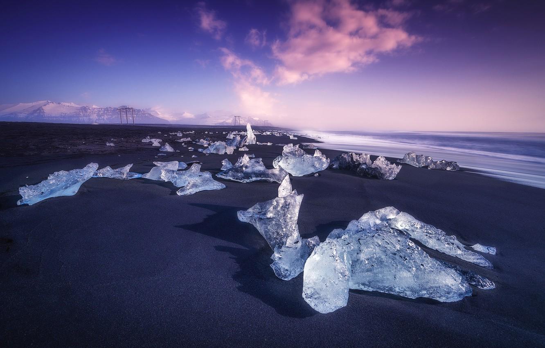 Photo wallpaper Clouds, Purple, Ice, Sea, Cold, Islandia