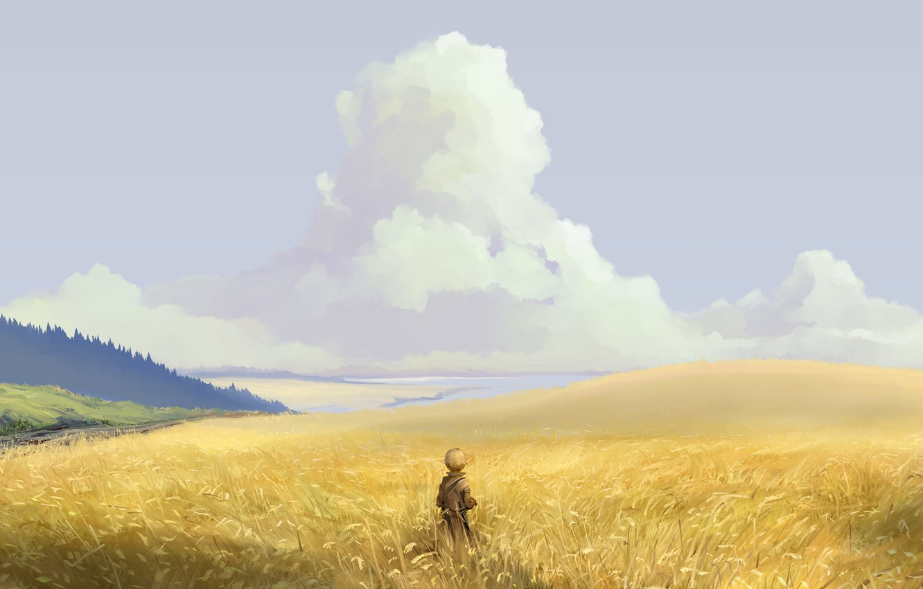 Photo wallpaper field, forest, the sky, clouds, nature, anime, art, guy, hangmoon