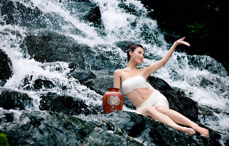 Photo wallpaper summer, girl, river, Asian