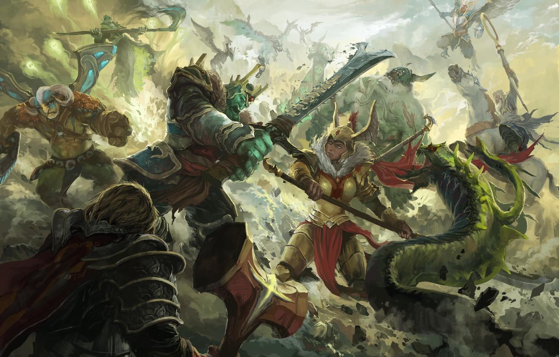Photo wallpaper battle, dota, art, dota 2, Elder Titan, Venomancer, Legion Commander, moba, Omniknight, Wraith King, Skywrath …