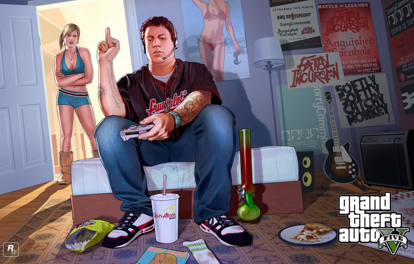 Photo wallpaper room, boy, girl, poster, gta, Grand Theft Auto V, Rockstar Games, Jimmy, Tracy, Tracey and …