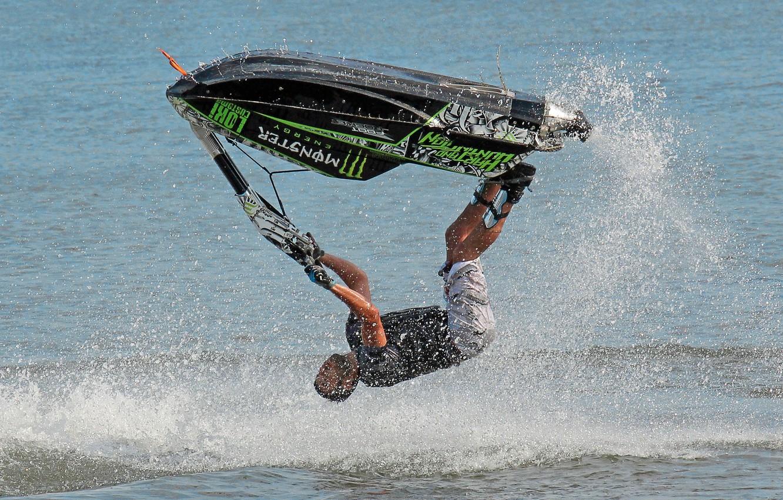 Photo wallpaper sea, squirt, jump, jet ski, monster, the trick, jetski