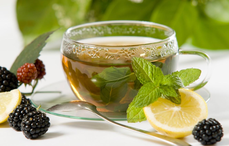 Photo wallpaper berries, lemon, tea, Cup, still life, mint, BlackBerry