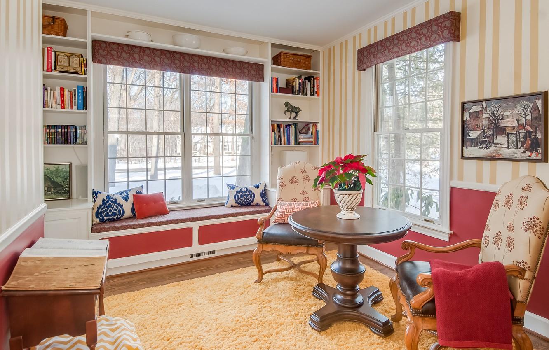 Photo wallpaper design, table, room, Windows, chair, pillow, sill