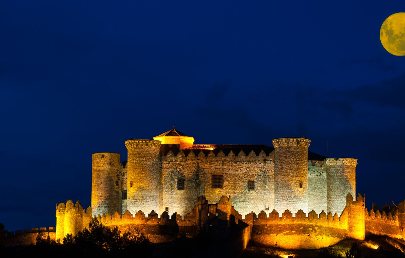 Photo wallpaper night, castle, the moon, fortress