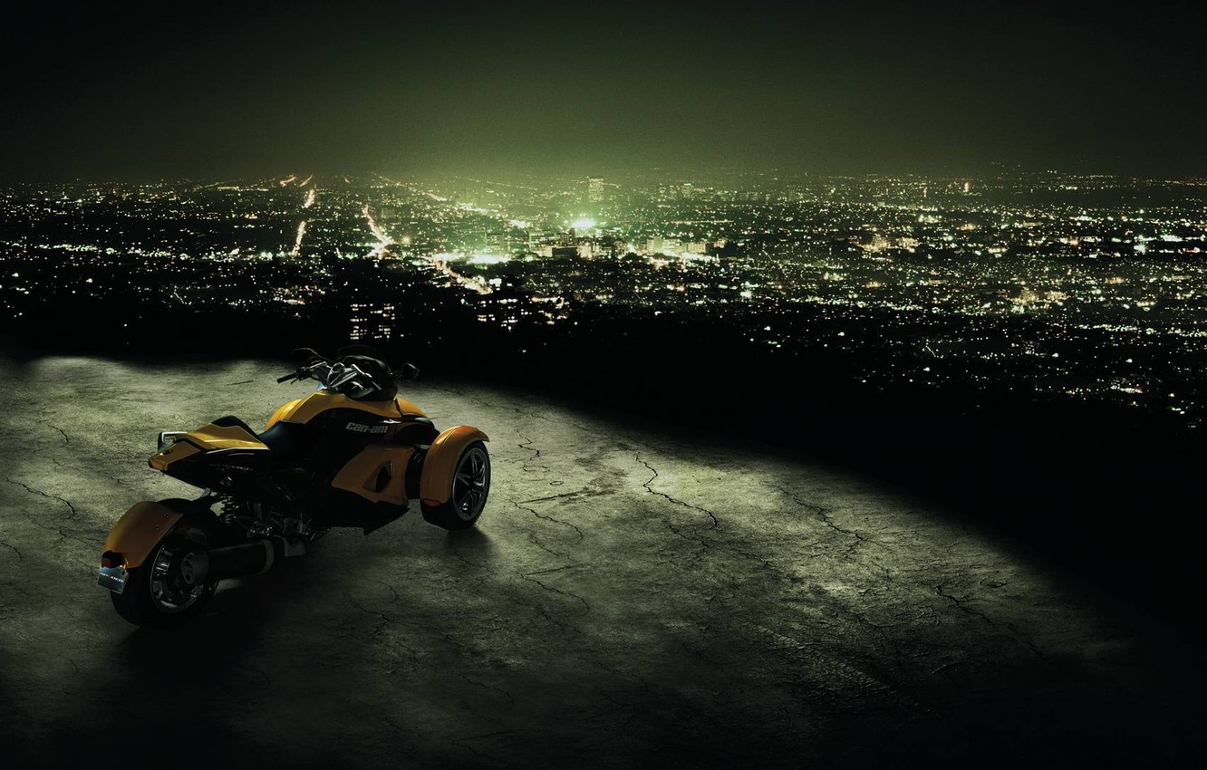 Photo wallpaper night, the city, motorcycle