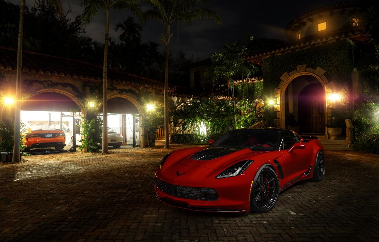 Photo wallpaper Corvette, Chevrolet, Red, Car, American, Stingray, Wheels, ADV.1