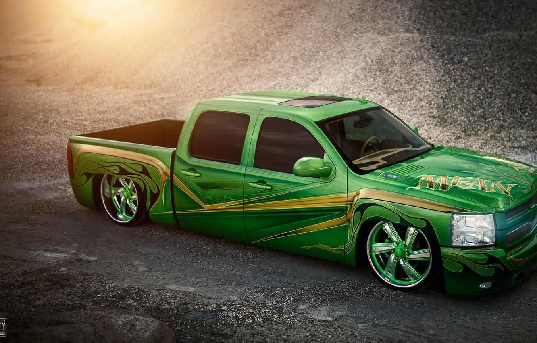 Photo wallpaper green, Chevrolet, green, lowrider, Chevrolet, pickup, pick-up, Silverado, Doc Fluty, silverado