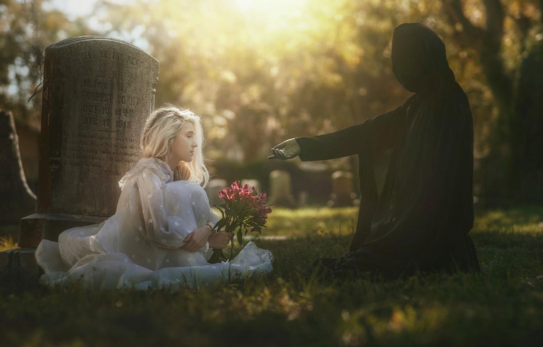 Photo wallpaper girl, death, art, cemetery, Life & Death