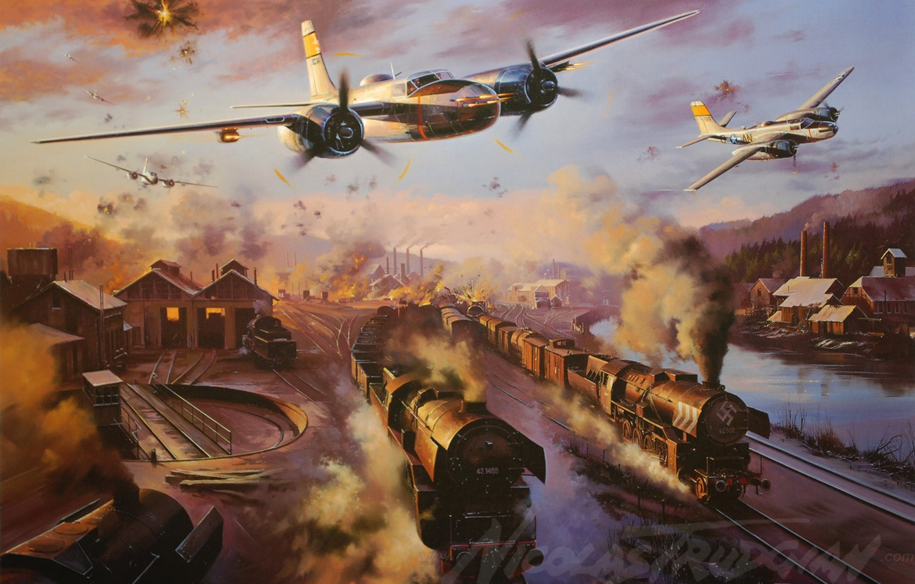 Photo wallpaper the plane, Bomber, painting, WW2, Attack, A-26 Invader, aircraft art, Invader, A-26
