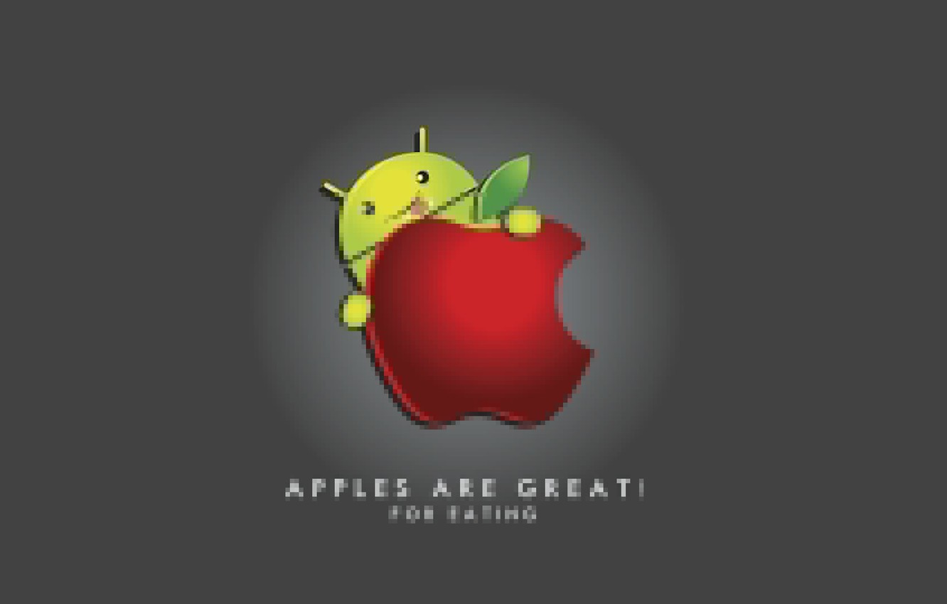 Photo wallpaper the inscription, apple, humor, android, eypl, when it is eaten, Android, Apple good