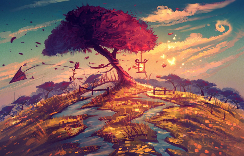 Photo wallpaper butterfly, river, fantasy, tree, art, kite