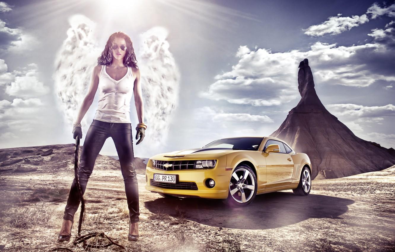 Photo wallpaper girl, landscape, nature, Wallpaper, mountain, wings, angel, Chevrolet, brunette, glasses, wallpaper, Camaro, 2012, Chevrolet, pants, …