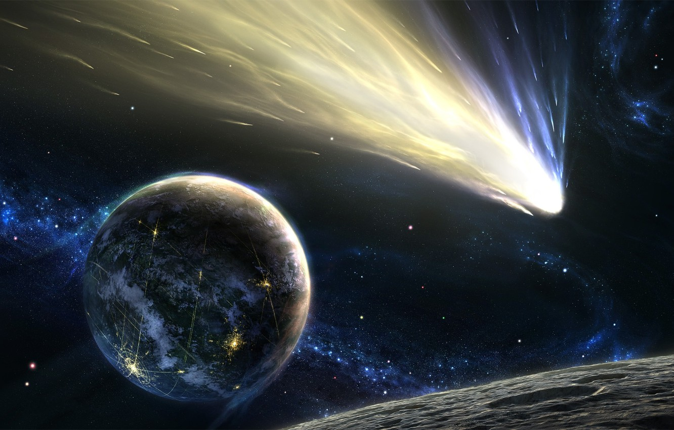 Photo wallpaper stars, planet, comet, asteroid, tail, Space, stars, planet