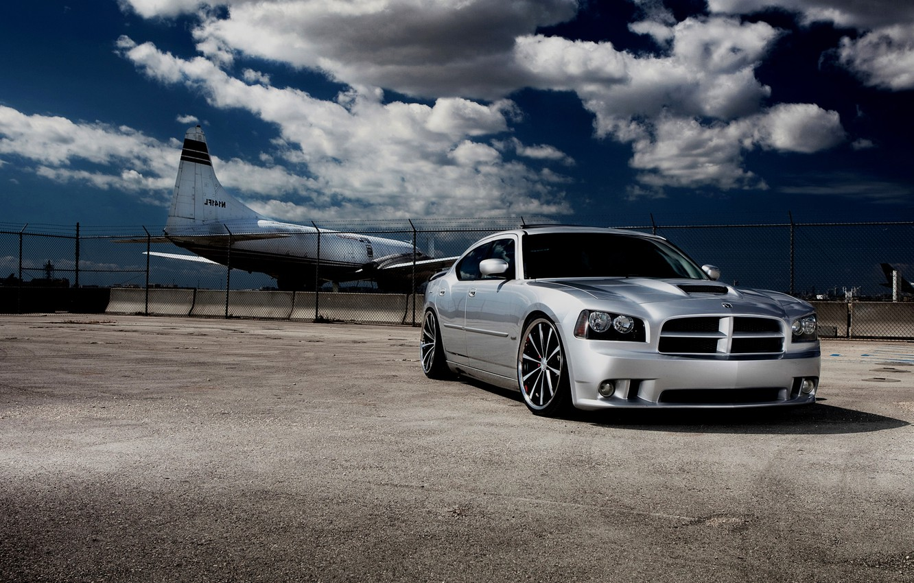 Photo wallpaper clouds, cars, the plane, Dodge, cars, dodge, charger, auto wallpapers, car Wallpaper