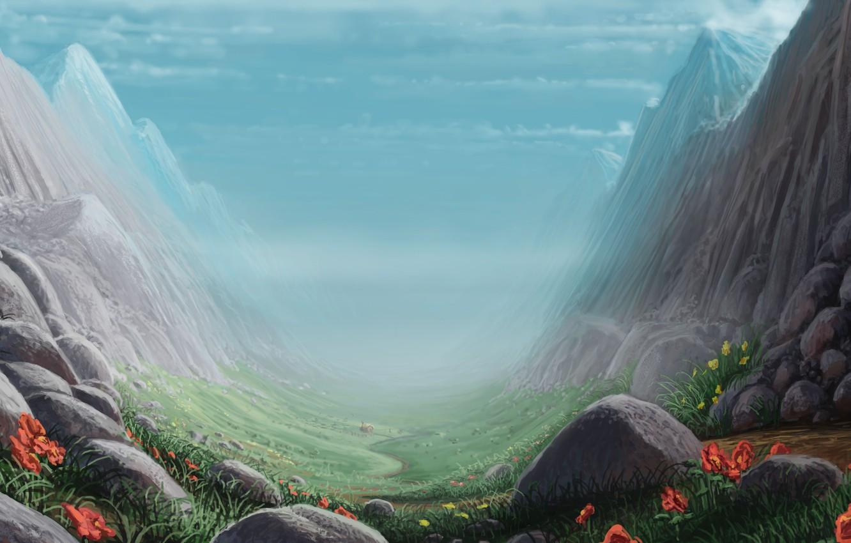 Photo wallpaper grass, landscape, flowers, stones, rocks, art, gorge, path