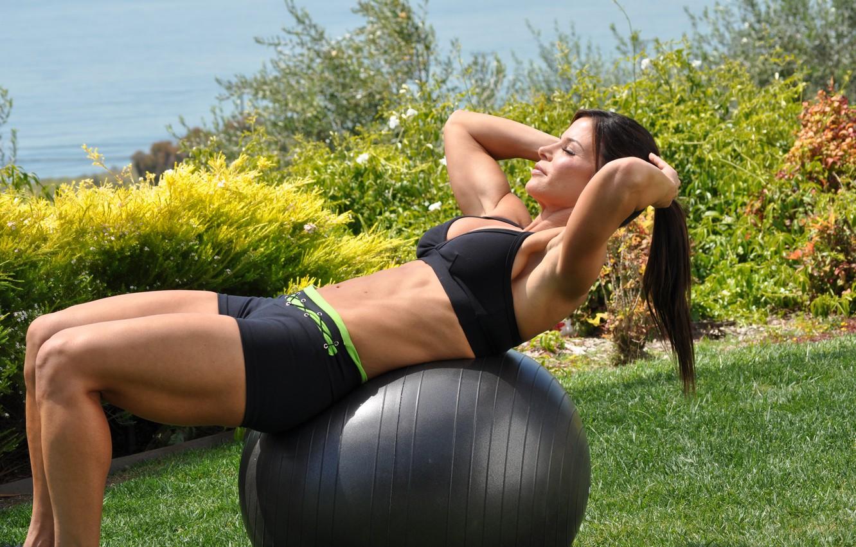 Photo wallpaper brunette, workout, fitness, outdoors, abs, ball training