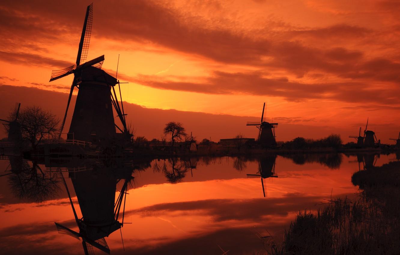 Photo wallpaper sunset, river, mill