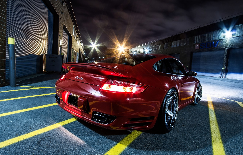 Photo wallpaper Red, Night, Porsche, Machine, Bumper, Asphalt, Red, Car, 997TT