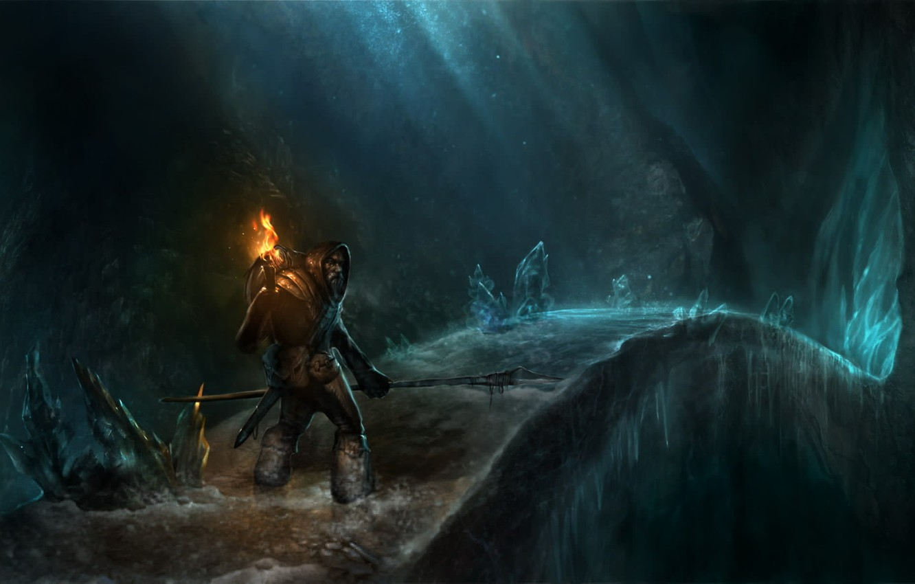 Photo wallpaper ice, bridge, people, hood, torch, spear, cave, beard, Traveler