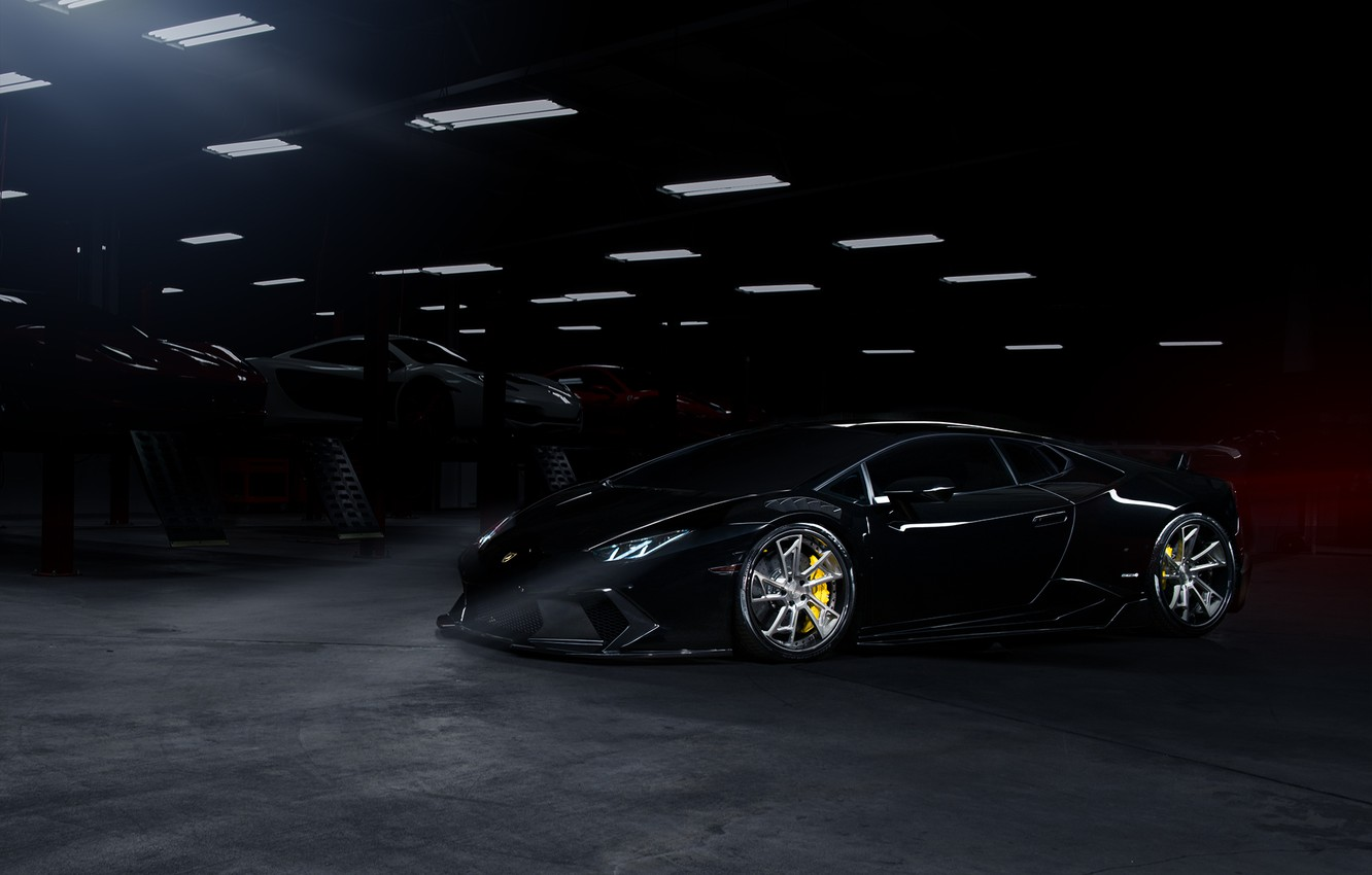 Photo wallpaper Lamborghini, Dark, Front, Black, Color, Supercar, Wheels, Garage, Huracan, LP610-4