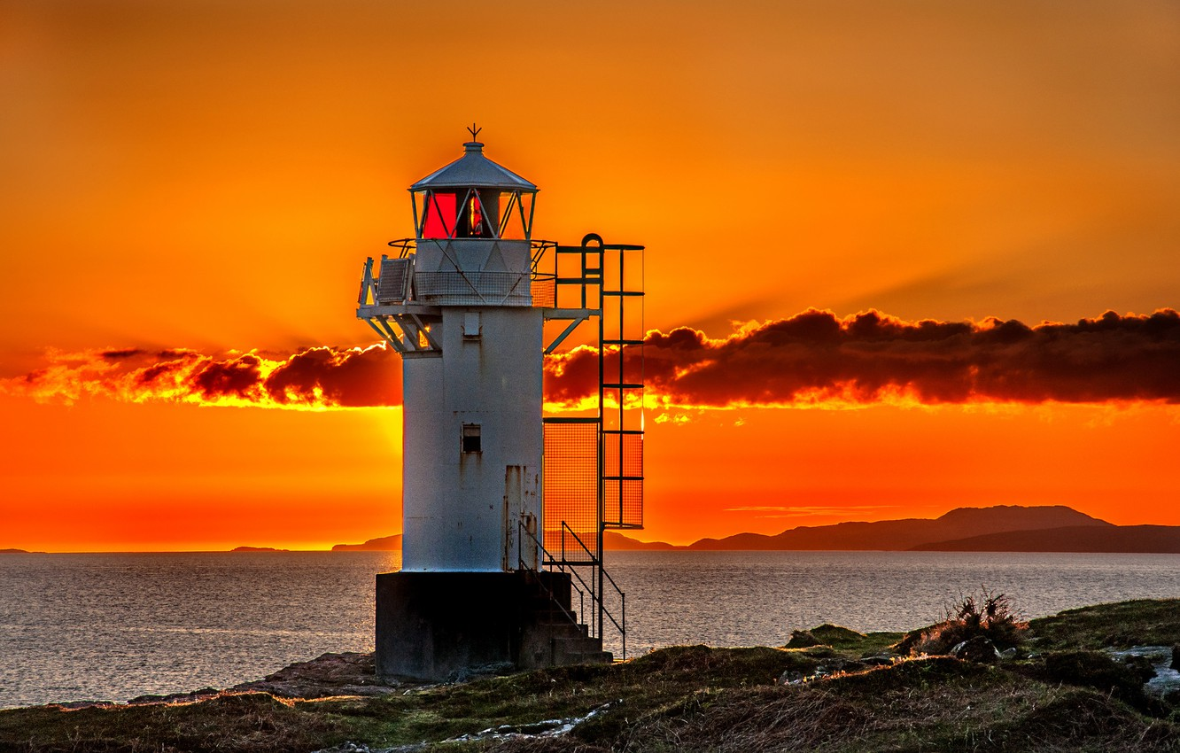 Photo wallpaper sea, the sky, clouds, sunset, shore, lighthouse