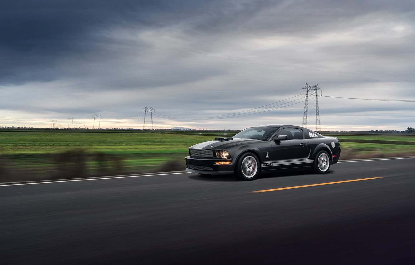 Photo wallpaper Mustang, Ford, Muscle, Car, Speed, Front, Grey, Road, Collection, Aristo, GT 350