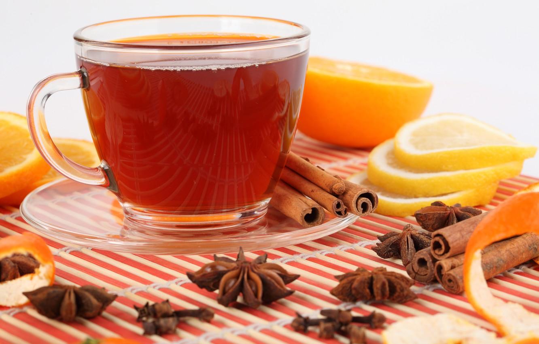 Photo wallpaper reflection, lemon, tea, orange, Cup, drink, cinnamon, saucer, slices, peel, star anise